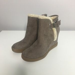 Unisa Grey Faux Fur Ankle Boots